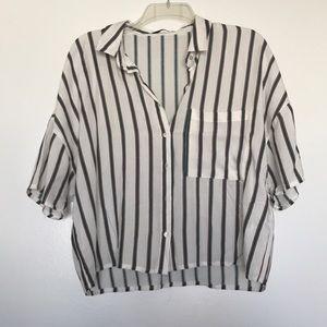 Striped crop button up shirt